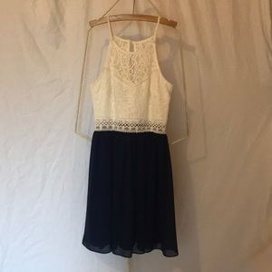 Lace Top Dress, White and Navy
